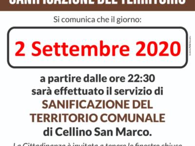 Sanificazione del territorio del 02 Settembre 2020
