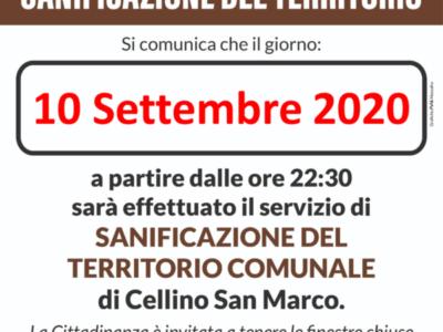 Sanificazione del territorio del 10.09.2020