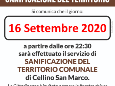 Sanificazione del territorio del 16.09.2020