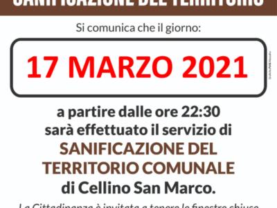17.03.2021 – Sanificazione straordinaria sul territorio comunale